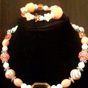 Orange And White Beaded Necklace Set
