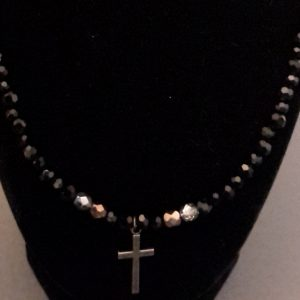 Black And Silver/Gold Beaded Cross Necklace Set