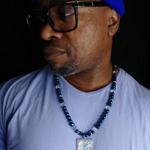 Rodney wear Metallic Blue Men Necklace Set