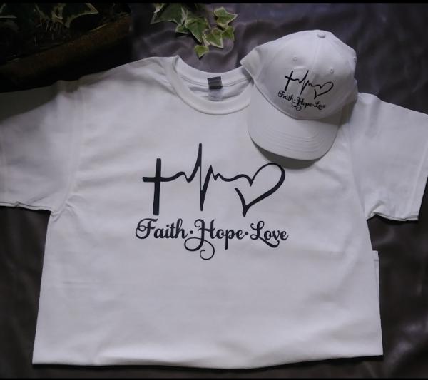 Unisex Faith Hope Love Crewneck Polo Shirt And Hat Set