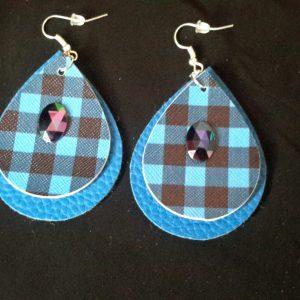 Pin Stripe Blue Teardrop Earrings