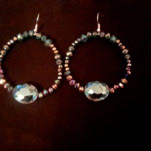 Teal Blue Sparkle Hoop Earrings