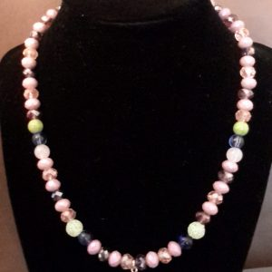 Lilac And Blue Beaded Necklace Set With Acorn Charm
