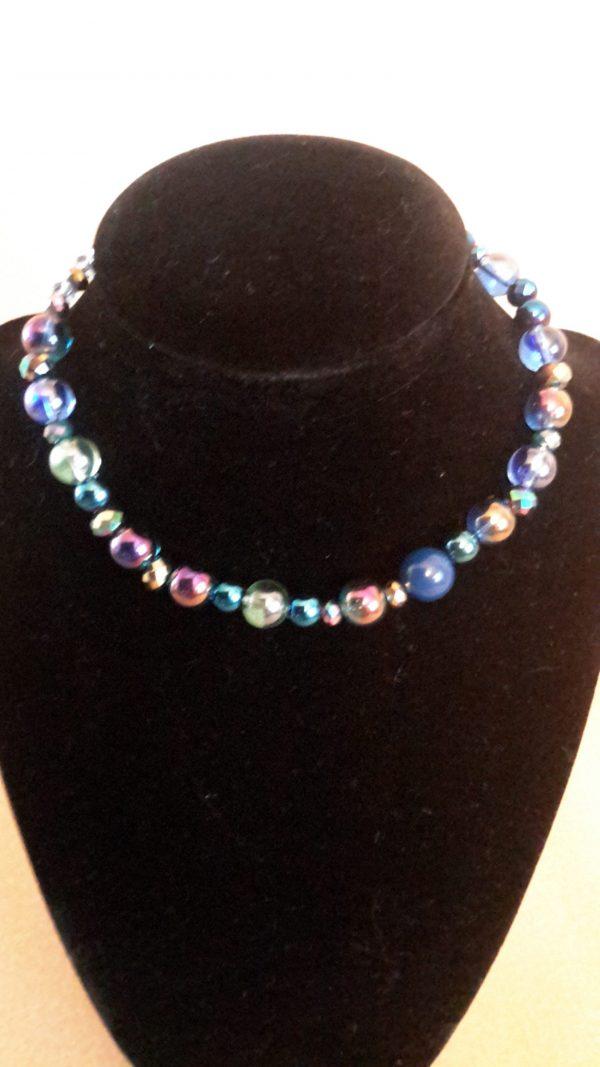 Roll On Blue Medium Dog Necklace