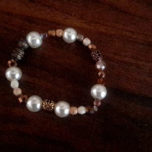 Charlet Brown and Pearl Beaded Necklace Set With Chained Cross on the side