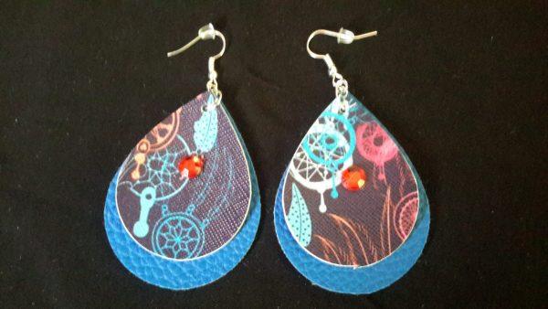 Blue Red Teardrop Earrings