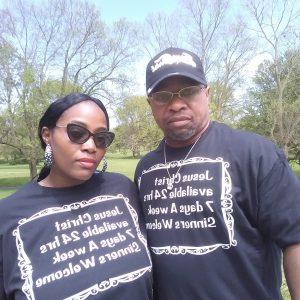 Renunda and Rodney wear Jesus Christ Tees