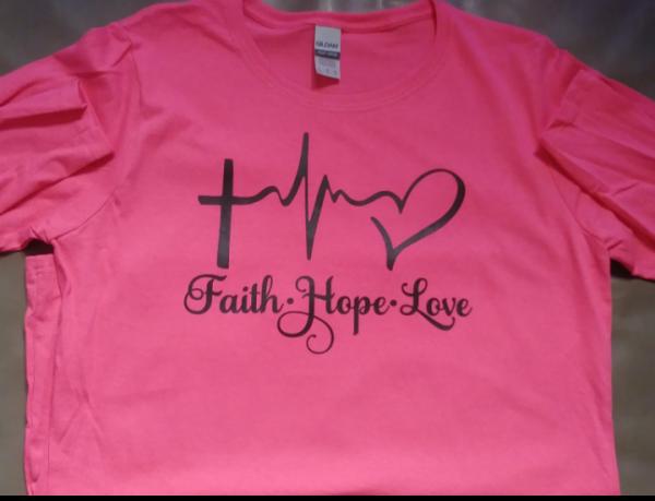 Faith Hope Love Hot Pink Women Long Sleeve Crewneck