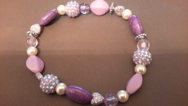 Roll-On Lavender And White Ankle Bracelet