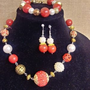Red Flame 3pc Women Necklace Set
