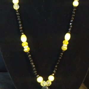 """Breezy Slip On"""" Women Black And Yellow Bow Tie Necklace"""