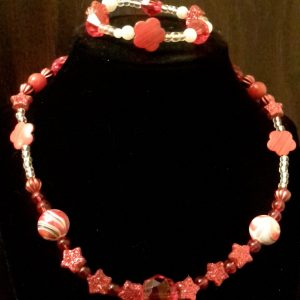 Red/White Beaded Necklace Set