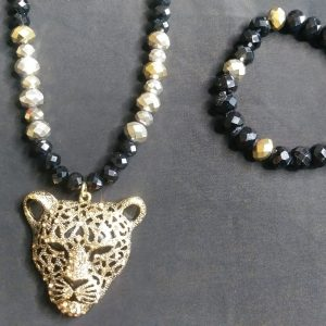 Men Panther Necklace Set
