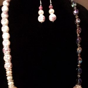 Passion Purple and White Beaded Necklace