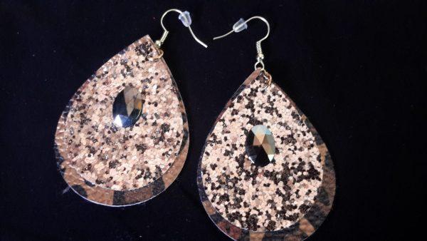 Leopard Gold Teardrop Earrings
