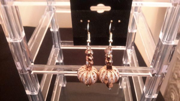Bronze And Gold Dangle Earrings
