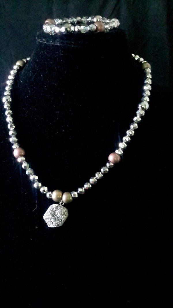 "Sapphire Gold/Silver Chain Necklace Set""Glory"" Women's Necklace Set Chandelier Metallic Silver Men Necklace Set"