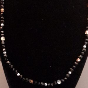 Black And Silver/Gold Beaded Necklace Set