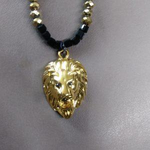Judah Men Gold And Black Lion Necklace Set