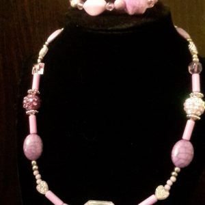 Purple And Silver Beaded Necklace Set