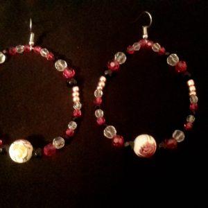 Fushia Rose Hoop Earrings