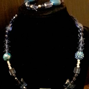 Navy Blue And Silver Beaded Necklace Set