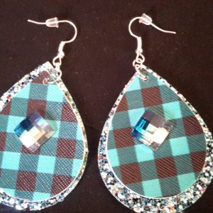 TurQuoise And Black Checkered Teardrop Earrings
