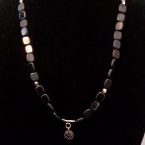 Dimensional Cubed Black And Gold Necklace With Black Nugget Charm