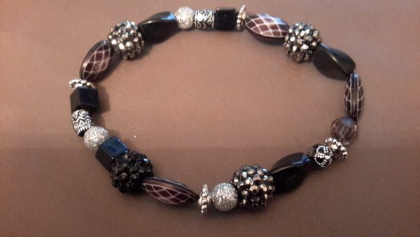 Roll-On Black And Silver Ankle Bracelet