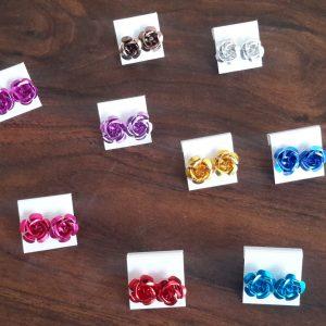 Big Metallic Flower Earrings