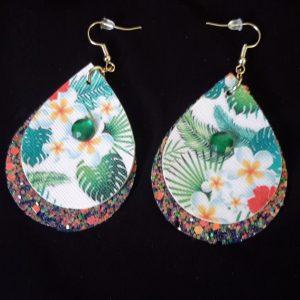 Green Hawaiian Teardrop Earrings