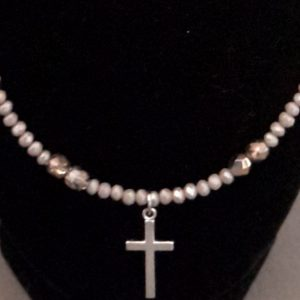 Grey And Silver Beaded Cross Necklace Set