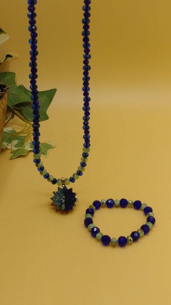 Sage Green And Royal Blue Men Necklace Set