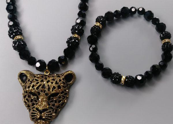 Men Panther Necklace Set 2021 Edition In Black