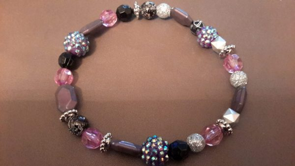 Roll-On Purple And Black Ankle Bracelet