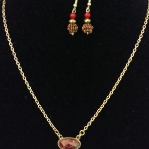 Coral Gold Women Gold Link Necklace Set