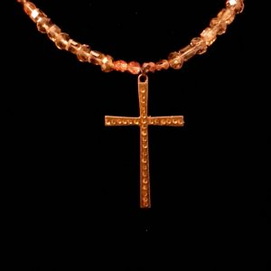Peach And Bronze Chandelier Cross Necklace