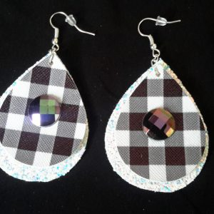 White and Black Checkered Teardrop Earrings