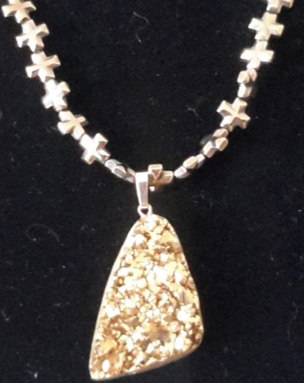 Copper Cross Necklace With Gold Nugget Charm