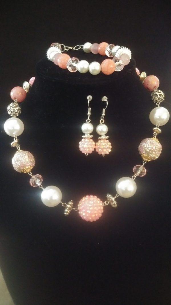 Passion Pink 3pc Women Necklace Set