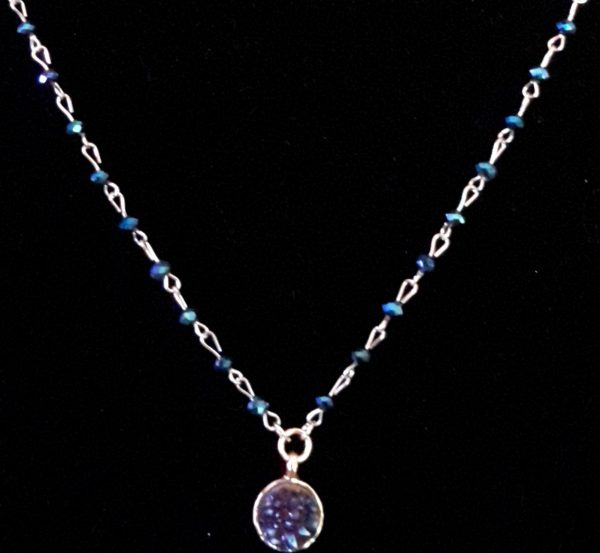 Sapphire Gold Silver Chain Necklace Set