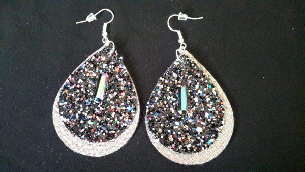 Black Grey Teardrop Earrings