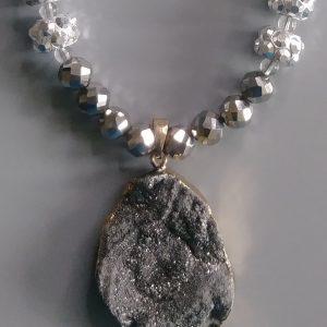 Silver Men Necklace With Druzy Pendant