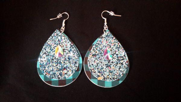 TurQuoise Glitter Teardrop Earrings
