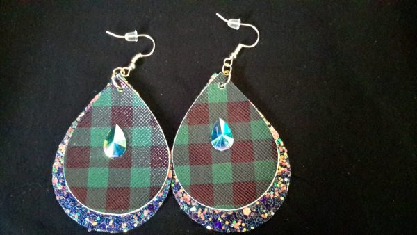 Green And Black Checkered Teardrop Earrings