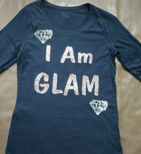 """ I Am Glam"" Polo T-Shirt (Navy Blue)"